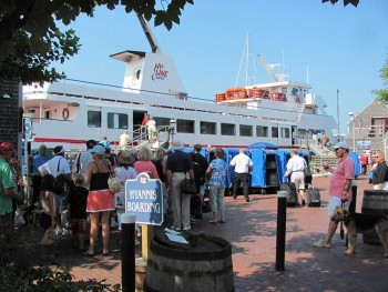 Visitors boarding the Hyline Ferry