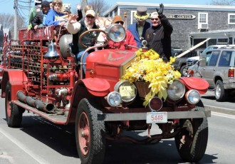 Fire truck in the 2015 Nantucket Daffodil Car Parade