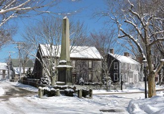 Civil War Monument on Main Street in Winter