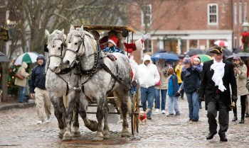 Horse Drawn Cariage pulling Santa up Main Street