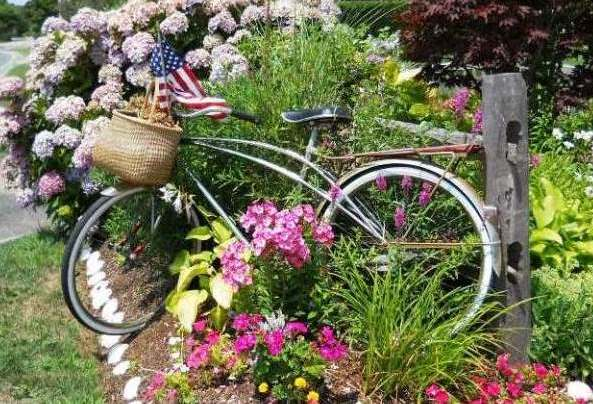 Bike And Flowers On Nantucket